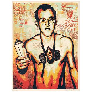 """SHEPARD FAIREY, Keith Haring, Signed, Serigraph 207 / 450, 22.8 x 16.9"""" (58 x 43 cm)"""