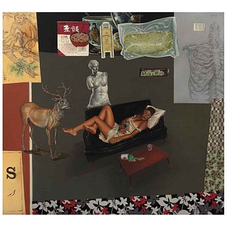 """HERIBERTO QUESNEL, Escena con ciervo, fideos y porcelana china, Signed and dated 2010, Oil and collage/wood, 39.3 x 43.3"""" (100 x 110 cm), Certificate"""
