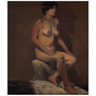 """DANIEL LEZAMA, Claudia con almohada, Signed and dated 2001 on back, Oil on wood, 18.1 x 15.7"""" (46 x 40 cm)"""