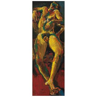 """REYNALDO VELÁZQUEZ, Untitled, Signed and dated 28-III-79, Oil on canvas on wood, 37 x 12.5"""" (94 x 32 cm)"""