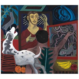 "ALEX LAZARD, Árbol de la vida, Signed, Oil on canvas, 31.4 x 35.4"" (80 x 90 cm), Certificate"