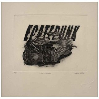 """BRUNO MARTÍNEZ SEGOVIANO, Ecatepunk, Signed and dated 2020, Etching and aquatint 4 / 15, 5.9 x 7.8"""" (15 x 20 cm), Certificate"""