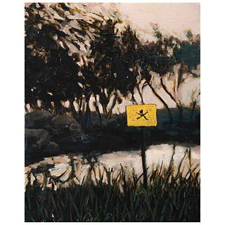 """WUERO RAMOS, Paisaje con muerte, Signed and dated MEX DF 2009 on back, Oil on canvas on wood, 9.8 x 7.8"""" (25 x 20 cm), Certificate"""