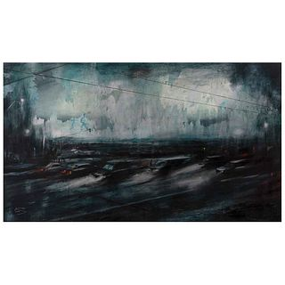 """KRYSIA GONZÁLEZ, Despertar en la Ciudad de México, Signed and dated 2020, Acrylic and graphite on canvas, 35.4 x 66.9"""" (90 x 170 cm), Certificate"""