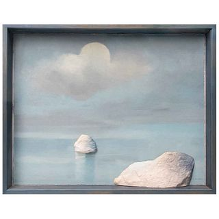 """COSTAS TSOCLIS, Stones and sea, Signed, Intervened mixography and monotype without print number, 40.1 x 51.5 x 3.9"""" (102 x 131 x 10 cm) with frame"""
