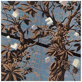 """PATRICK PETTERSSON, Jardín dentro de un cráneo de azúcar, 2007, Signed, Oil / engraving / wood, Pieces: 2, 62.9 x 62.9"""" (160 x 160 cm), Certificate"""