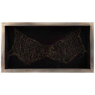"CLAUDIA LUGO, Alas II, series Sentido de la libertad, Signed and dated 2021 on back, Woven brass wire, 26.7 x 49.2 x 5.1"" (68 x 125 x 13 cm), Certific"