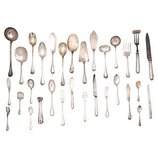 SET OF CUTLERY FRANCE, 19TH CENTURY Henin & Cie. Silver Full service for 12 people, 229 pieces, Weight: 13,095 g