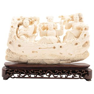 """EASTERN LADIES CHINA, 20TH CENTURY Ivory carving with sgraffito and inked motifs; 8 x 4.7"""" (20.5 x 12 cm)"""