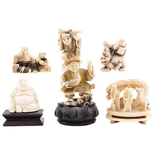 """LOT OF SIX FIGURES JAPAN, HONG KONG, 20TH CENTURY Five netsukes and Buddha Ivory carvings with 4 signed ink details, 2.3"""" (6 cm) maximum height"""