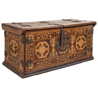 """TRUNK SPAIN, EARLY 20TH CENTURY Decorated with inked floral, plant and animal motifs. 41.7 x 19.2"""" (106 x 49 cm)"""