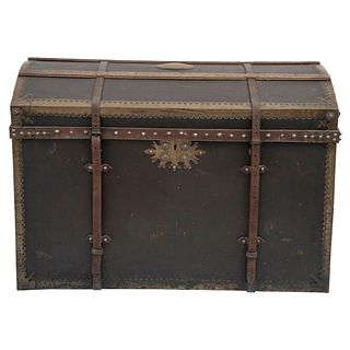 """TRAVEL TRUNK FRANCE, Ca. 1900 Made of wood with leather cover, hardware and metal edges 22 x 33.8"""" (56 x 86 cm)"""