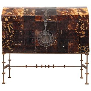 """TRUNK 19TH CENTURY Made of wood with tortoiseshell plates. With fittings and forged metal sheet. 29.9 x 32.6"""" (76 x 83 cm)"""