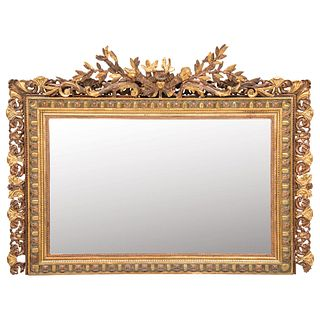 """MIRROR 19TH CENTURY Conservation details Made of carved and gilded wood with gold leaf applications. 49.6 x 70.8"""" (126 x 180 cm)"""