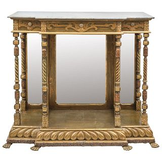 """CONSOLE TABLE 19TH CENTURY Conservation details Made of carved and gilded wood. 45.6 x 50.3 x 18.1"""" (116 x 128 x 46)"""