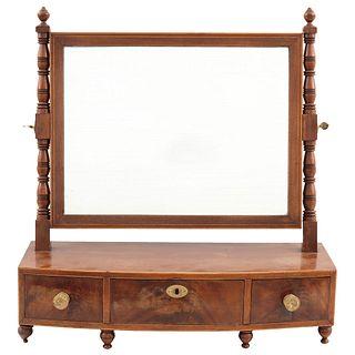 "CHEVAL SHAVING MIRROR USA, 19TH CENTURY Made of carved mahogany. 22 x 21.2"" (56 x 54 cm)"