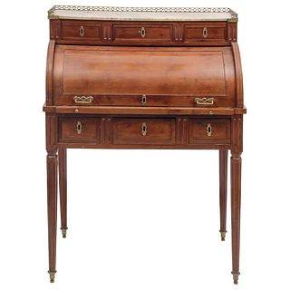 """LOUIS XVI DESK FRANCE, 19TH CENTURY Made of wood with gold metal handles, plates and railings. 42.1 x 30.7"""" (107 x 78 cm)"""