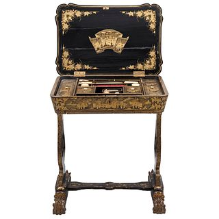 """SEWING TABLE 19TH CENTURY CHINESE STYLE In carved and lacquered wood with golden floral details. 27.9 x 24.8 x 15.7"""" (71 x 63 x 40 cm)"""