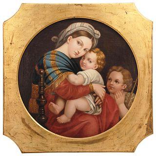 """IN MANNER OF RAFAEL SANZIO MADONNA DE LA SILLA  Ca. 1900 Oil on canvas Conservation details 23.6"""" (60 cm)"""
