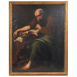 "SAN MARCOS EVANGELISTA MEXICO, 19TH CENTURY Oil on canvas Conservation details 41.7 x 32.2"" (106 x 82 cm)"