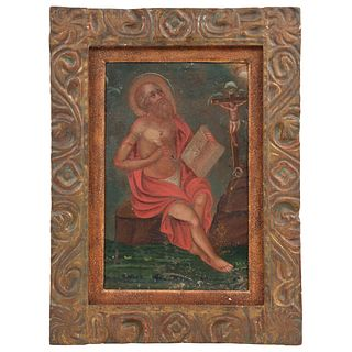"SAN JERÓNIMO MEXICO, 19TH CENTURY Oil on zinc sheet 13.3 x 8.2"" (34 x 21 cm) Conservation details"