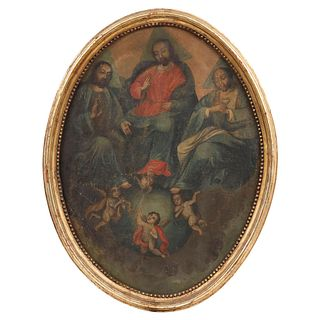 """TRINIDAD ANTROPOMORFA MEXICO, 18TH CENTURY Oil on canvas, oval format. Conservation details. 29.1 x 22"""" (74 x 56 cm)"""