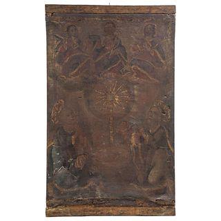 """ALEGORÍA DE LA EUCARISTÍA CON TRINIDAD ANTROPOMORFA, SAN PEDRO Y SAN PABLO. MEXICO, 18TH CENTURY. 36.2 x 22"""" (92 x 56 cm)"""