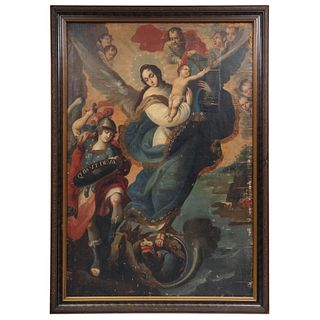 "VIRGEN DEL APOCALIPSIS MEXICO, 18TH CENTURY Oil on canvas 61 x 41.3"" (155 x 105 cm)"