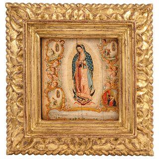 "APARICIONES DE LA VIRGEN A JUAN DIEGO MÉXICO Ca. 1900 Oil on ivory plate. 5.3 x 4.7"" (13.5 x 12 cm)"