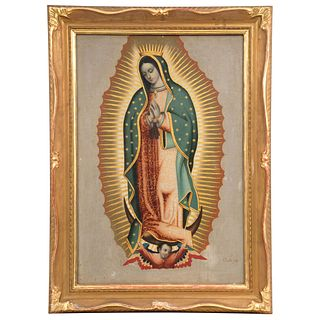 """VIRGEN DE GUADALUPE MEXICO, EARLY 19TH CENTURY Signed: Padilla fecit Oil on canvas 28.7 x 19.2"""" (73 x 49 cm)"""
