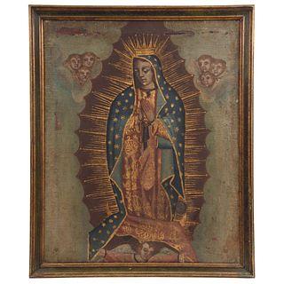 "VIRGEN DE GUADALUPE MEXICO, 19TH CENTURY Oil on canvas Conservation and restoration details. 30.7 x 24.8"" (78 x 63 cm)"