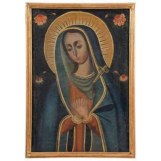 """VIRGEN DOLOROSA MEXICO, 19TH CENTURY Oil on canvas Conservation details. Repaints, cracks, detachments. 23.6 x 16.3"""" (60 x 41.5 cm)"""