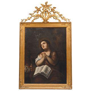 """JOSÉ CAYETANO PADILLA  PUEBLA (ACTIVE FROM LATE 19TH CENTURY) MARÍA MAGDALENA Signed: México, 43.3 x 32.2"""" (110 x 82 cm)"""