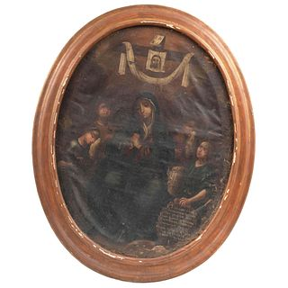 "VIRGEN DOLOROSA CON ARMA CHRISTI (STABAT MATER DOLOROSA) MEXICO, 18TH CENTURY Oil on canvas, oval format. 31.8 x 24.4"" (81 x 62 cm)"