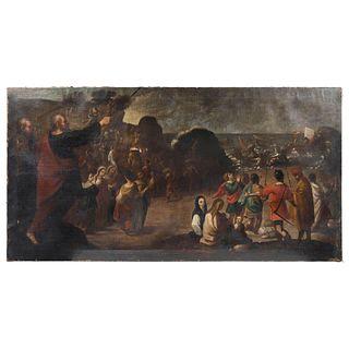 """CANTO TRIUNFAL DE MOISÉS MEXICO, 18TH CENTURY Oil on canvas Conservation details. 33.8 x 70"""" (86 x 178 cm)"""