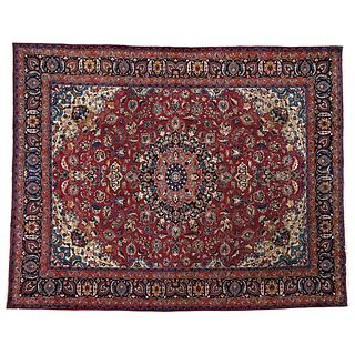 """PERSIAN MASHAD MASHHAD, IRAN, Ca. 1960 Made by hand with natural dyes in red, blue and beige. 150 x 115.3"""" (381 x 293 cm)"""