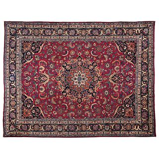 """PERSIAN MASHAD MASHAD, IRAN, Ca. 1960 Made by hand with natural dyes in red, blue and beige. 157 x 121.6"""" (399 x 309 cm)"""