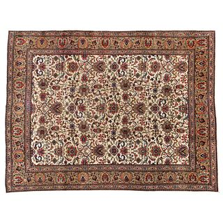 """PERSIAN TABRIZ CLASSIC DESIGN GARRUS TABRIZ, IRAN, Ca. 1950 Handcrafted with natural, beige and gold dyes. 159.2 x 120.6"""" (404.5 x 306.5 cm)"""