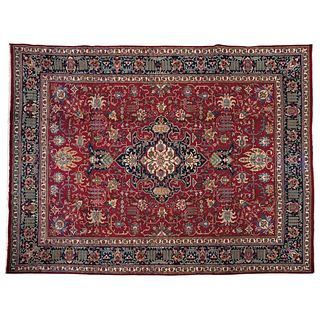 """PERSIAN TABRIZ HERIZ-SERAPI DESIGN TABRIZ, IRÁN, Ca. 1960 Made by hand with natural dyes in red, blue and green. 153.9 x 118.1"""" (391 x 300 cm)"""
