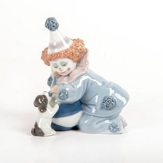 Pierrot with Puppy & Ball 1005278 - Lladro Porcelain Figure