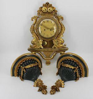 Antique Carved & Giltwood Swedish Clock.