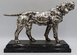 Silvered Bronze Howling Dog Statue.
