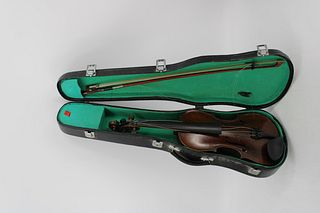 Antique Violin & Bow In Hard Shell Case.