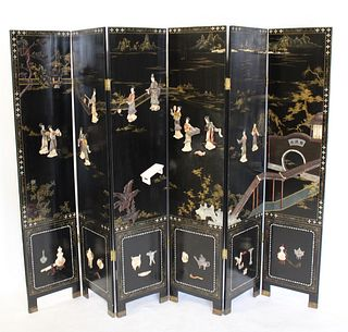 Vintage Asian 6 Panel Lacquered Screen