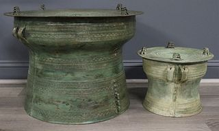 (2) Bronze Burmese Rain Drums.
