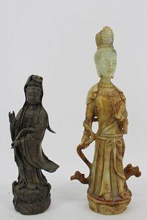 Antique Bronze Asian Figure & Jade? Hardstone?