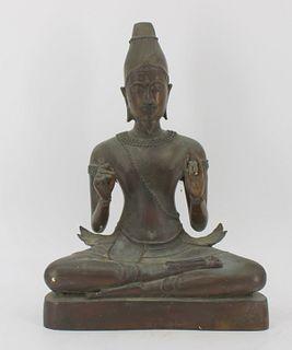 Antique Asian Bronze Seated Buddha.