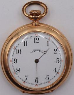 JEWELRY. Elgin 14kt Gold Open Face Pocket Watch.