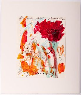 Cy Twombly Mixed Media Work on Paper