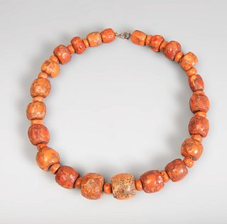Necklace. Nepal, 20th century. Fossilized coral.